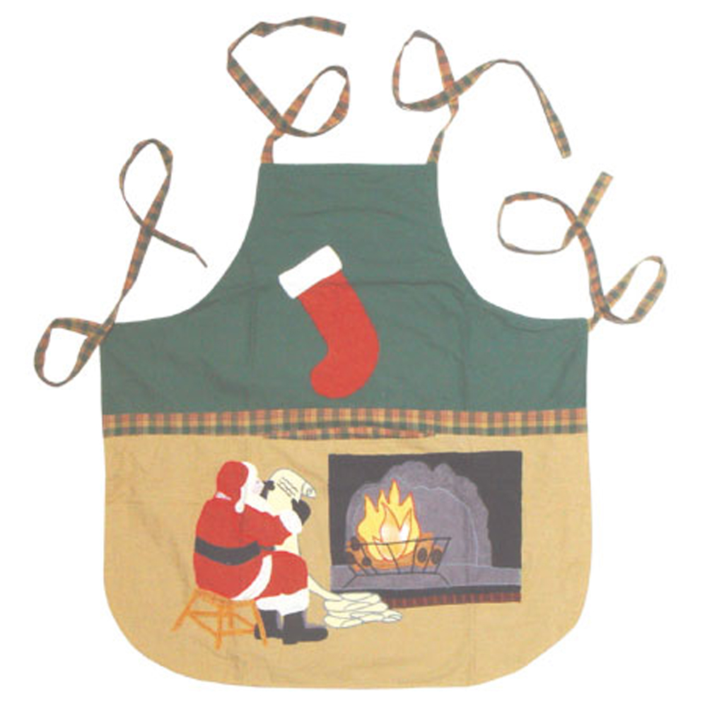 "Santa by the Fireside Apron 27""W x 29""L"