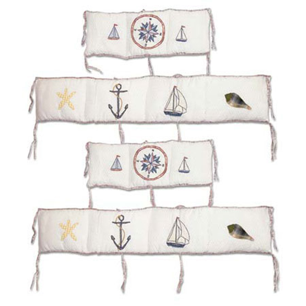 "Nautical Drift Bumper Pads 10""x52"" & 10""x25"" 2 EA"