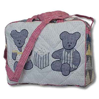 "Blue Teddy Bear overnite tote bag 18"" x 6"" x 12"""