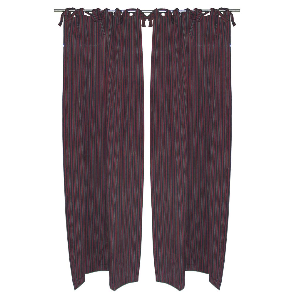 "Black with tan gold stripes bed curtain 40""w x 84""l"