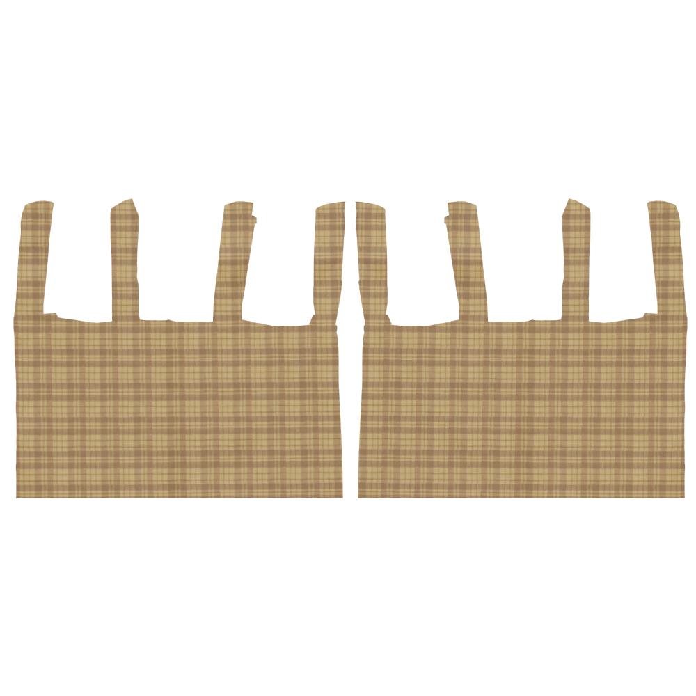 "Brown plaid bed curtain 40""w x 84""l"
