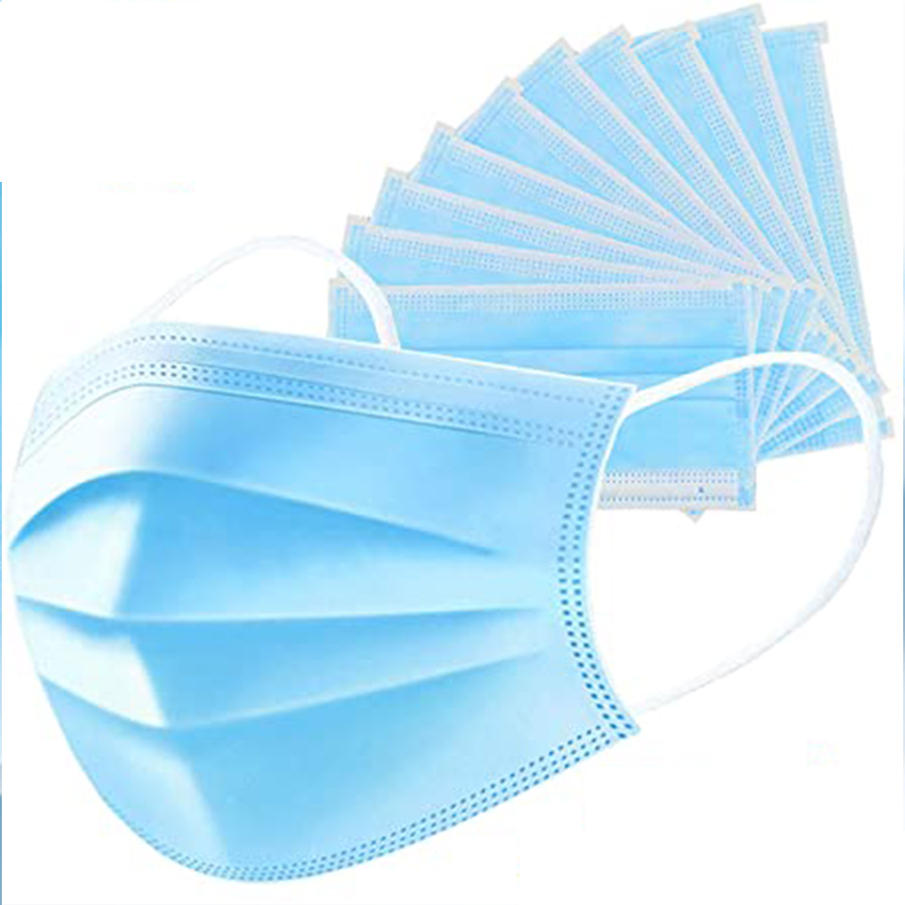 3 Layers Simple Disposable Non Woven Mask, Set of 50 Pieces