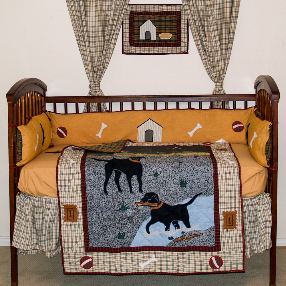 Black Lab Crib Set 6 Pieces