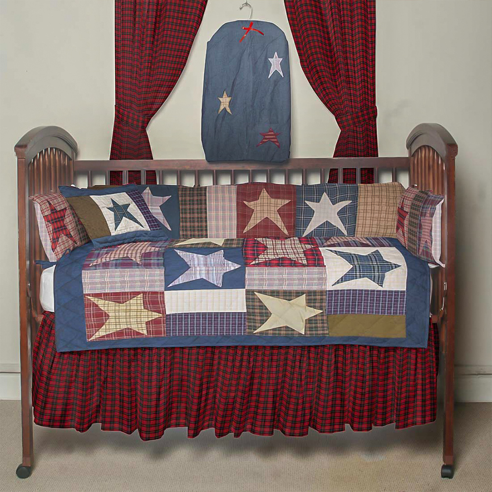 Homespun Stars Crib Set 6 Pieces
