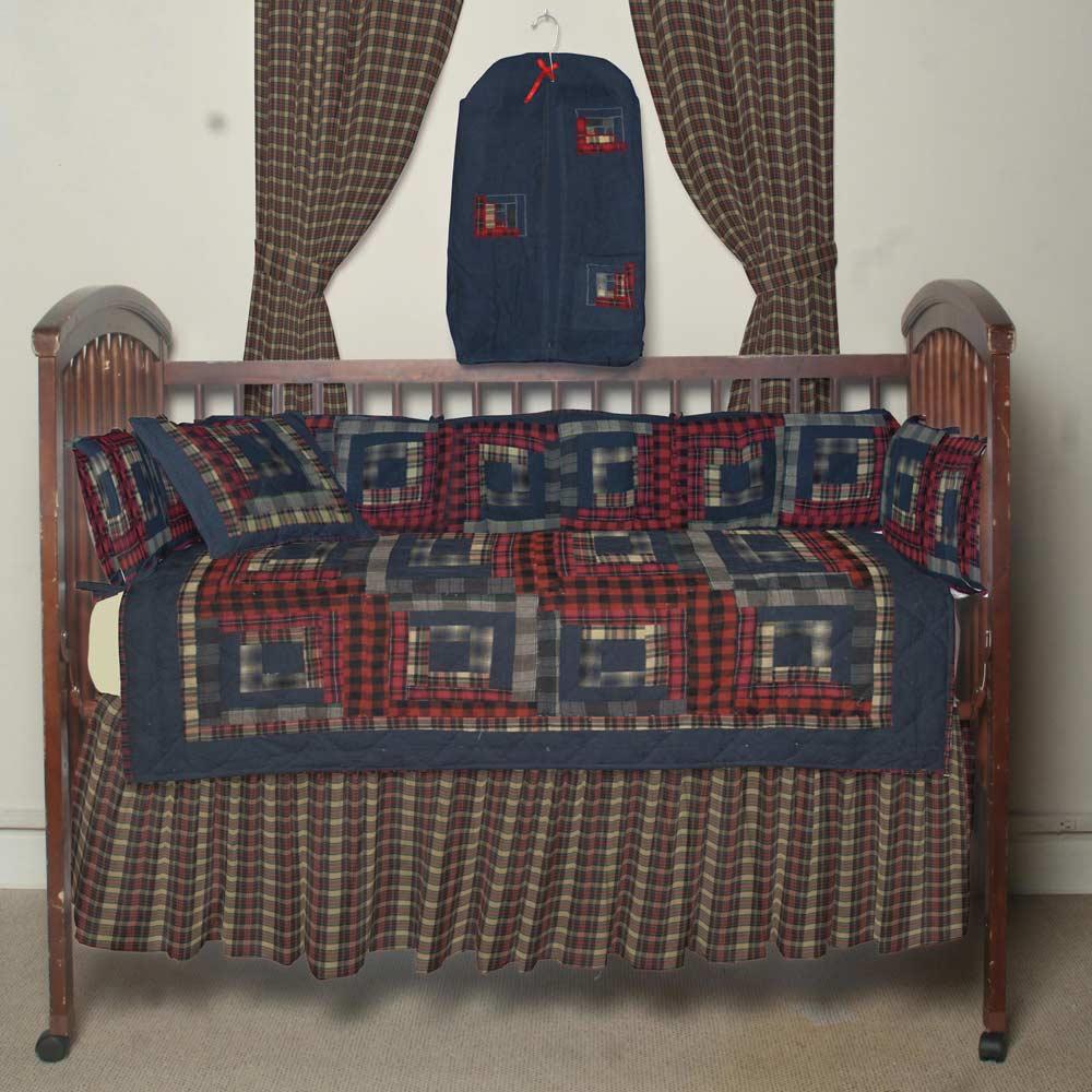 Red Log Cabin Crib Set 6 Pieces