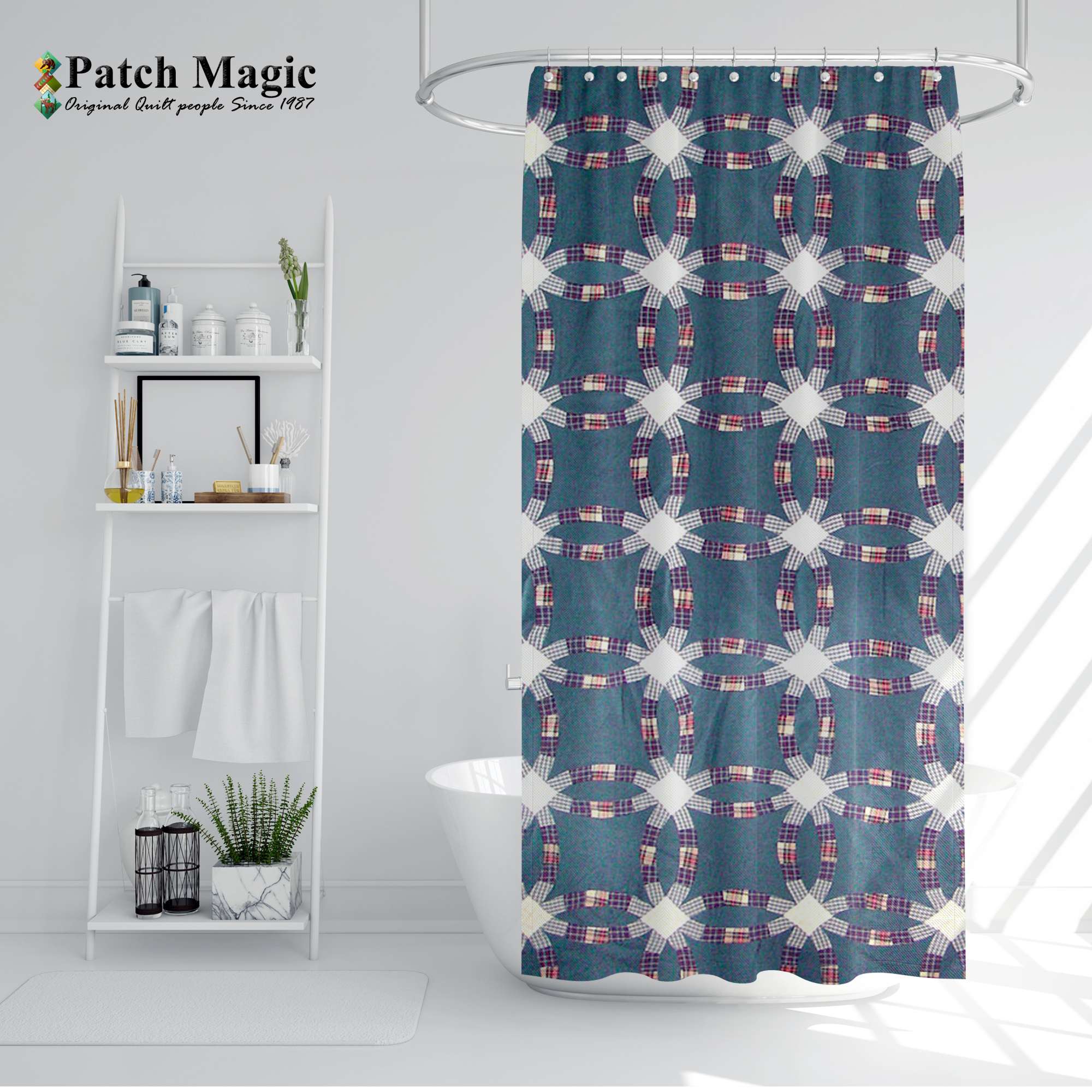"""Blue Double Wedding Ring Shower Curtain 72""""W x 72""""L"""
