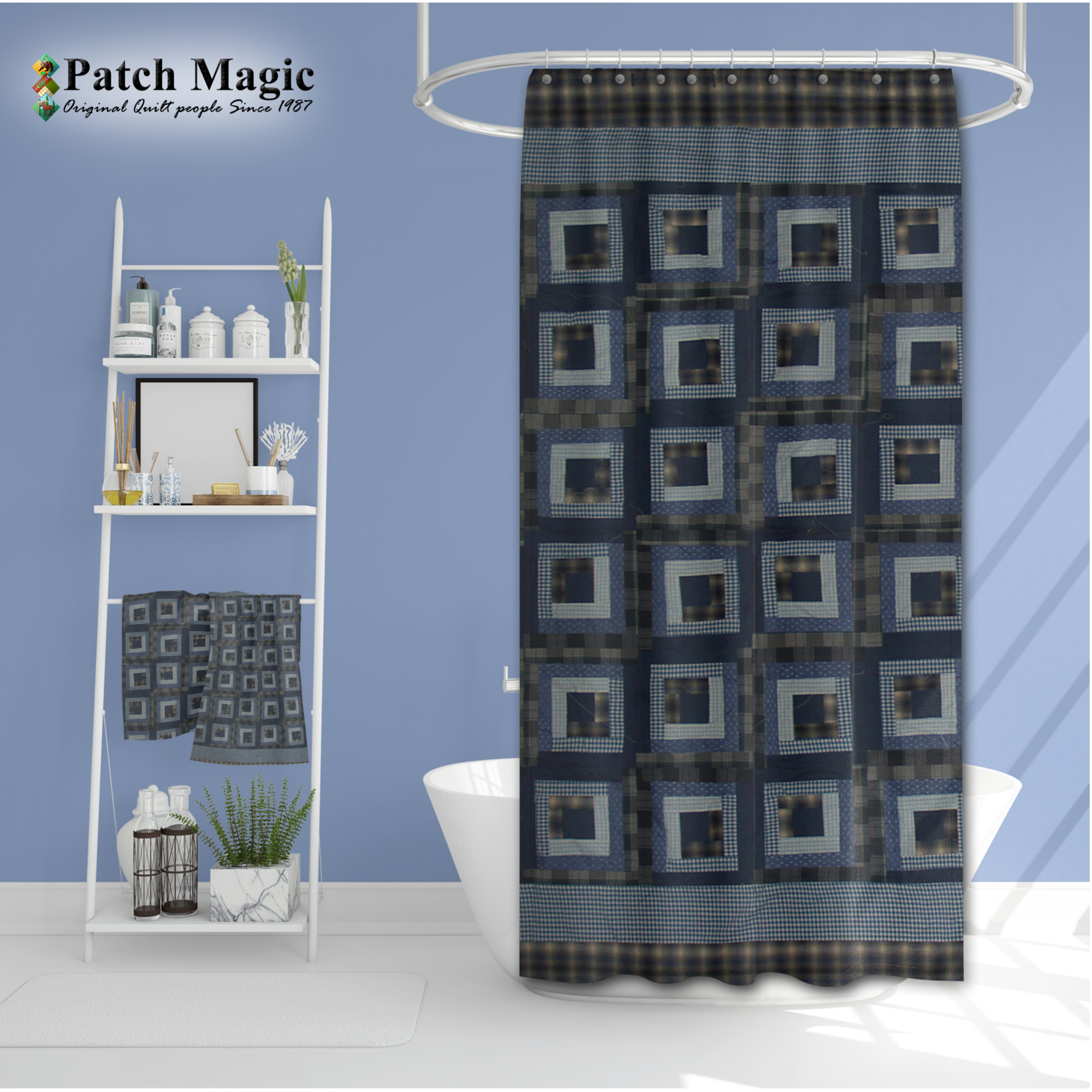 "Blue Log Cabin Shower Curtain 72""W x 72""L"