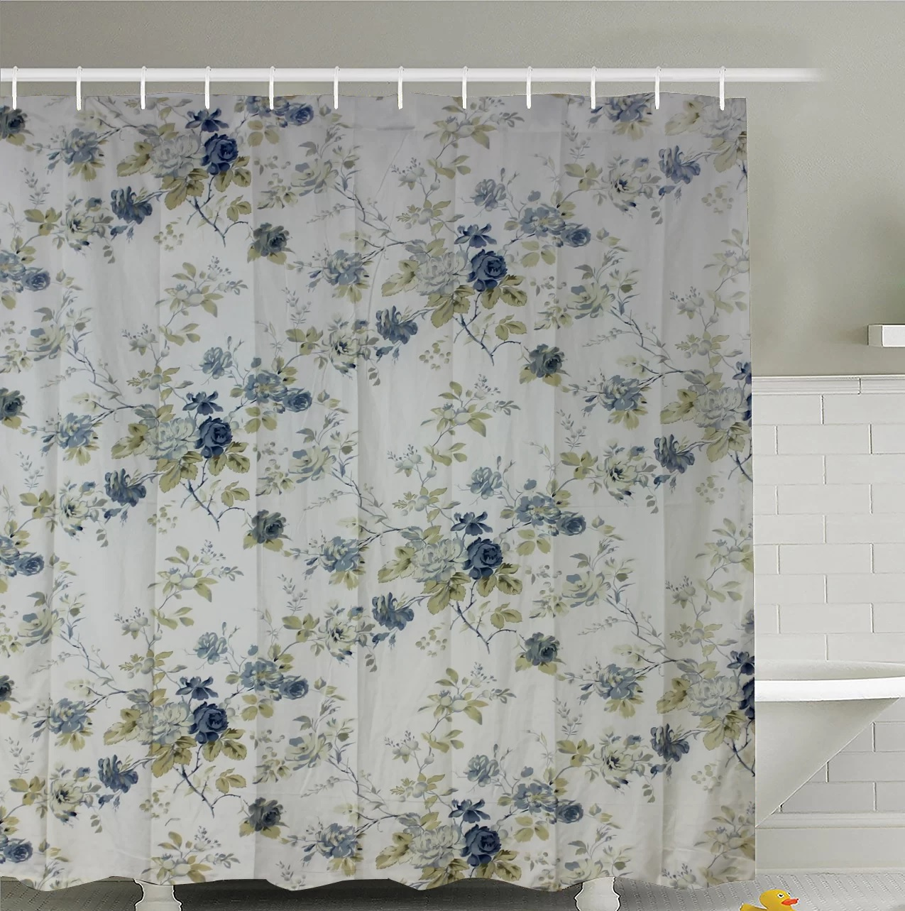 "Blue Roses Shower Curtain 72""W x 72""L"