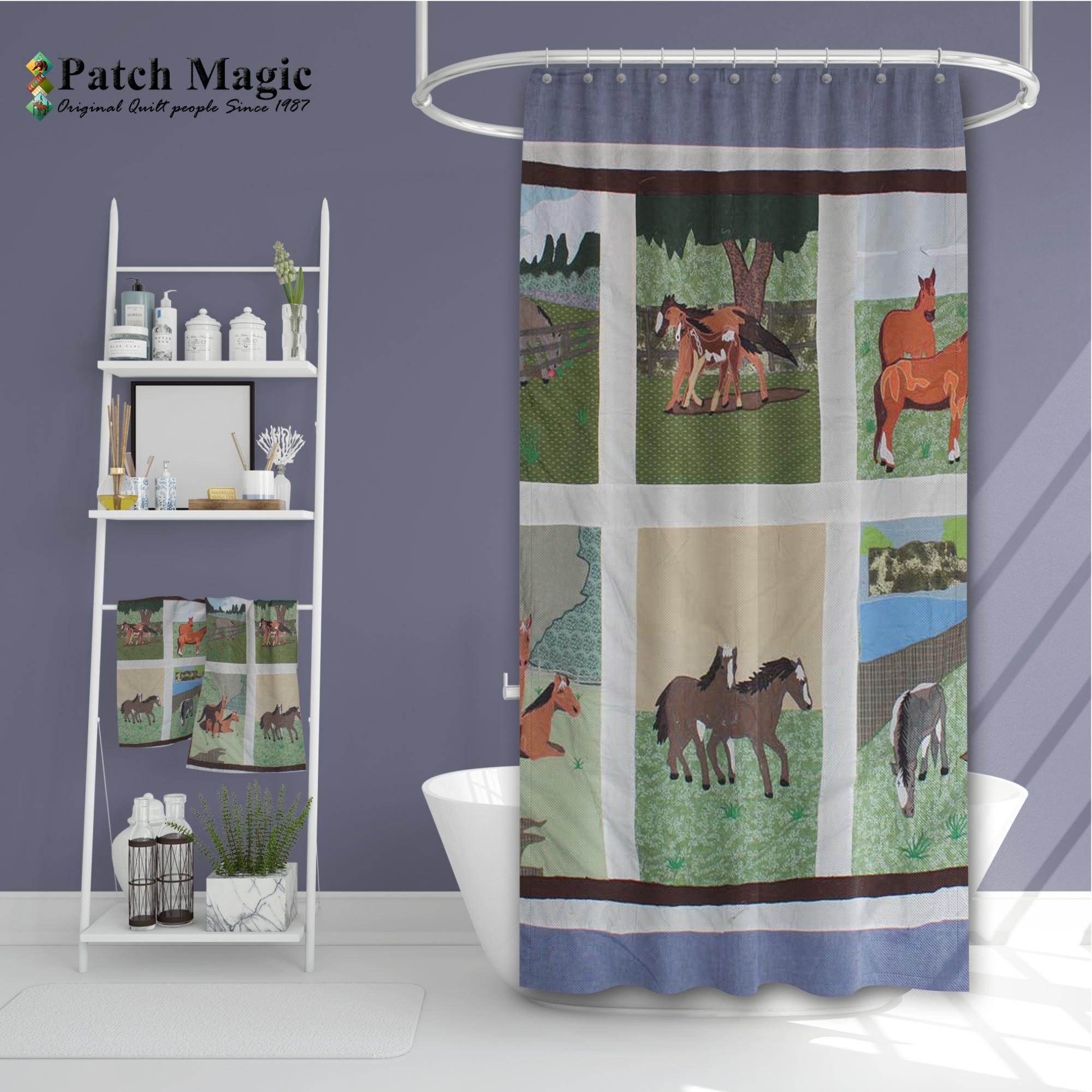 """Horse Friends Shower Curtain 72""""W x 72""""L"""