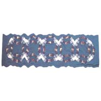 "Blue Double Wedding Ring valance 54""w x 16""l"