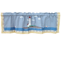 "Lighthouse by the Bay valance 54""w x 16""l"