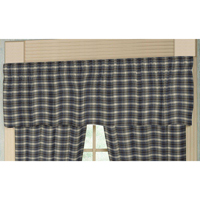 "Blue Black Grey Plaid Curtain Valance 54""W x 16""L"
