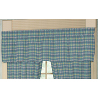 "Aqua Blue Plaid with Pink Overtone Curtain Valance 54""W x 16""L"
