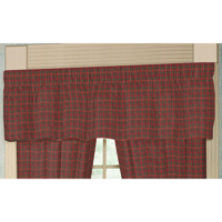"Red Check Plaid Curtain Valance 54""W x 16""L"