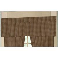 """Dark Brown Plaid Curtain Valance 54""""W x 16""""L"""