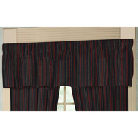 "Black and Maroon Stripe Curtain Valance 54""W x 16""L"
