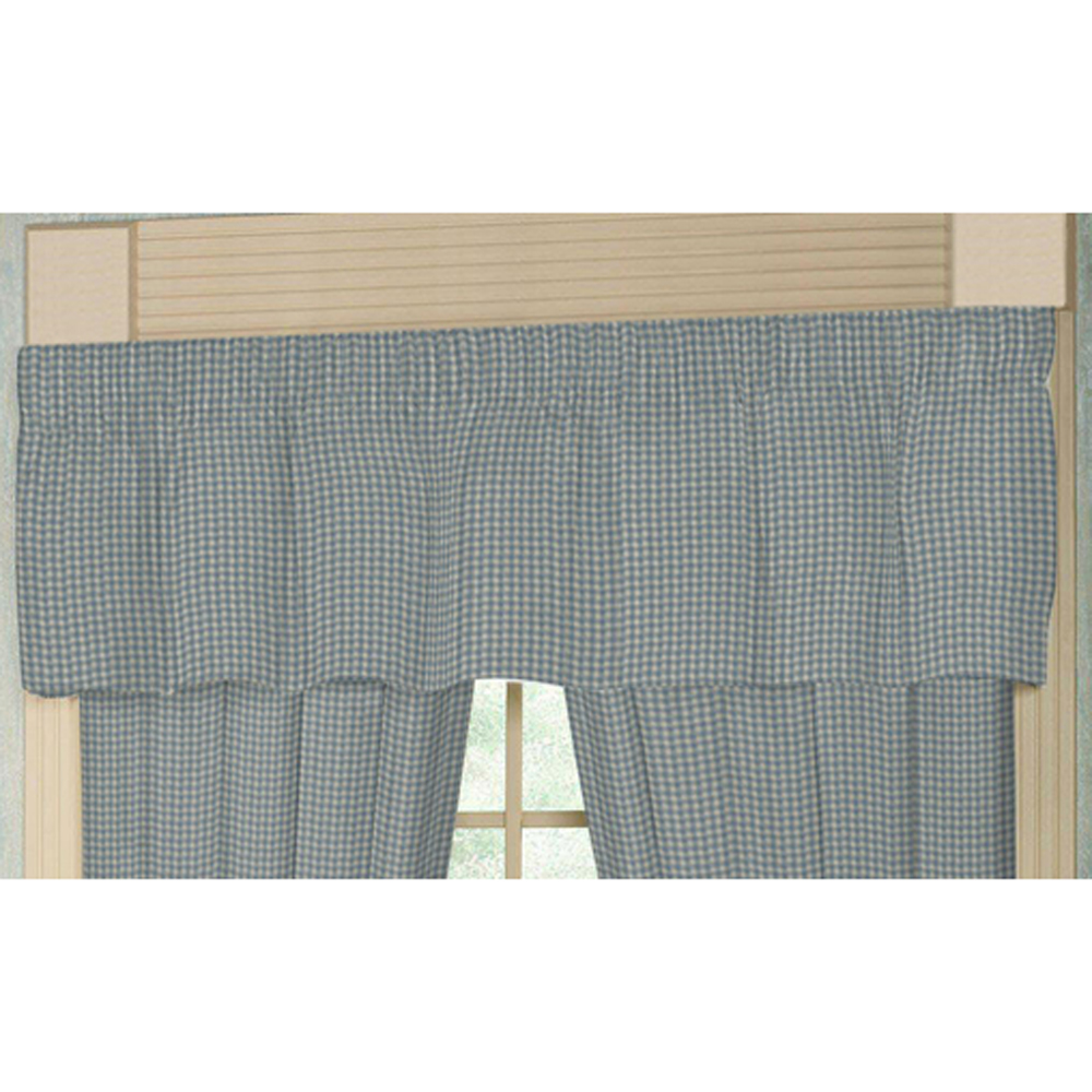 "Light Blue Pin Check Curtain Valance 54""W x 16""L"