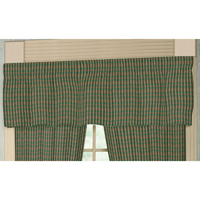 "Hunter Green and Tan Check Curtain Valance 54""W x 16""L"
