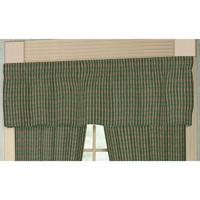 "Hunter Green and Tan Check Curtain Valance 54""W x 16""L"