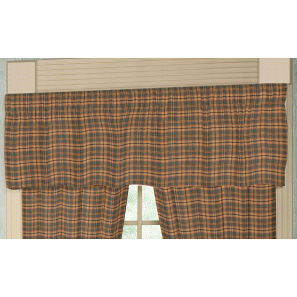 "Gold and Brown Plaid Curtain Valance 54""W x 16""L"