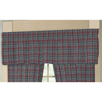 "Burgundy Plaid Curtain Valance 54""W x 16""L"