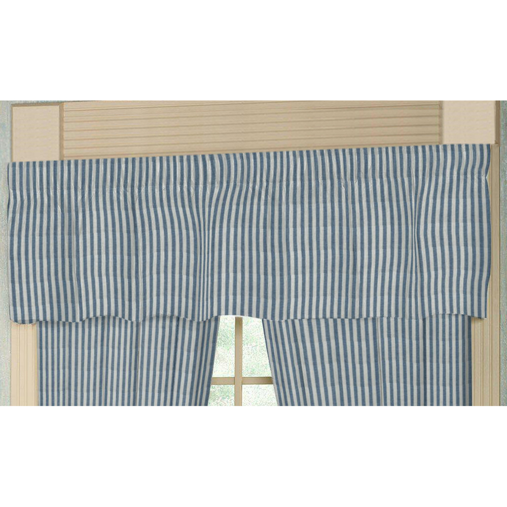 "Blue and White Candy Stripe Curtain Valance 54""W x 16""L"