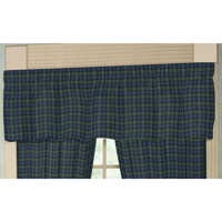 "Black Watch Plaid Curtain Valance 54""W x 16""L"
