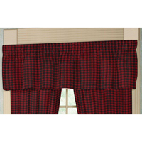 "Red and Black Plaid valance 54""w x 16""l"