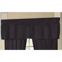 "Grey and Navy Blue Plaid Curtain Valance 54""W x 16""L"