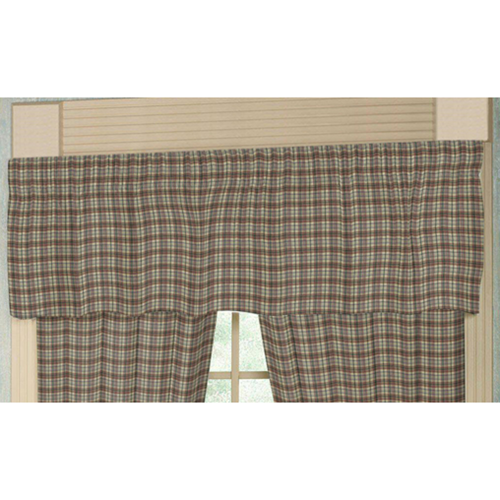 "Pale Yellow Large Plaid Curtain Valance 54""W x 16""L"
