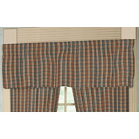 "Multi Brown and Tan Plaid Curtain Valance 54""W x 16""L"