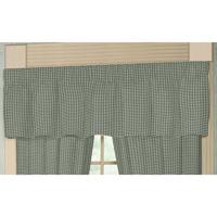 "Sage Green Gingham Curtain Valance 54""W x 16""L"