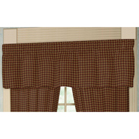 "Rustic Red and Tan Check Plaid Curtain Valance 54""W x 16""L"