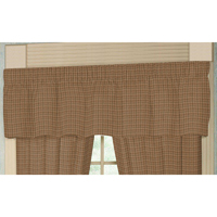 "Pale Brown Window Pane Check Curtain Valance 54""W x 16""L"