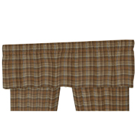 "Dark and Light Brown Plaid Curtain Valance 54""W x 16""L"