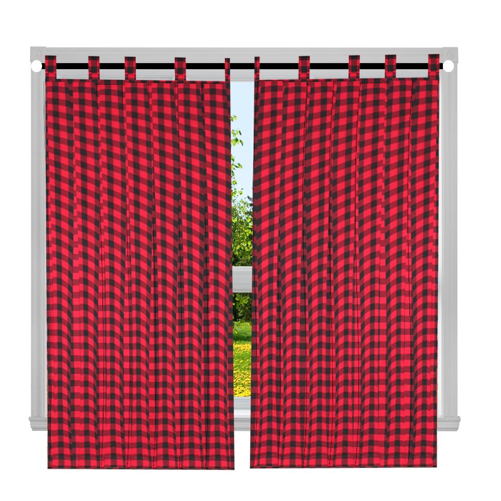 "Red and Black Twill Buffalo Check Window Curtain 40""W x 72""L"
