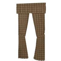 """Dark and Light Brown Plaid Window Curtain 40""""W x 84""""L"""