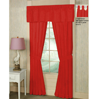 "Bright Red Solid Window Curtain 40""W x 84""L"
