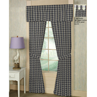 "BLUE BLACK PLAID WINDOW CURTAIN 40""X84"""