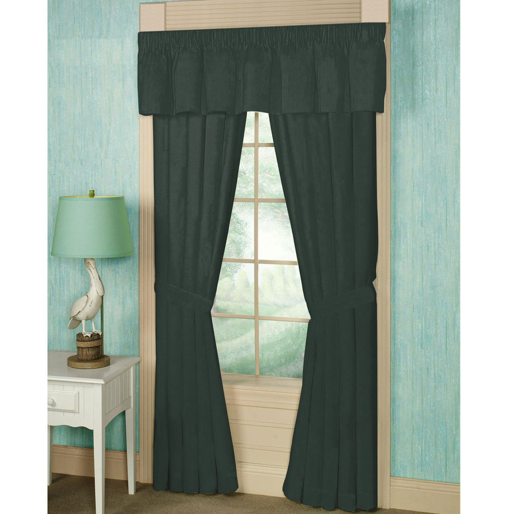 "Hunter Green Chambray Window Curtain 40""W x 84""L"