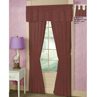 "Red Check Plaid Window Curtain 40""W x 84""L"