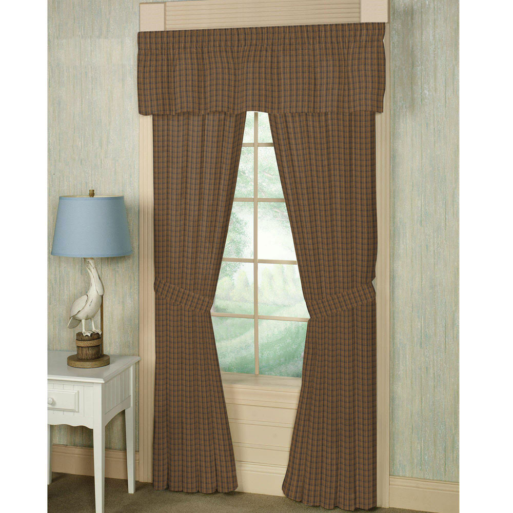 "Dark Brown Plaid Window Curtain 40""W x 84""L"