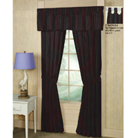"Black and Maroon Stripe Window Curtain 40""W x 84""L"