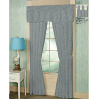"Light Blue Pin Check Window Curtain 40""W x 84""L"