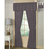 "Burgundy Plaid Window Curtain 40""W x 84""L"