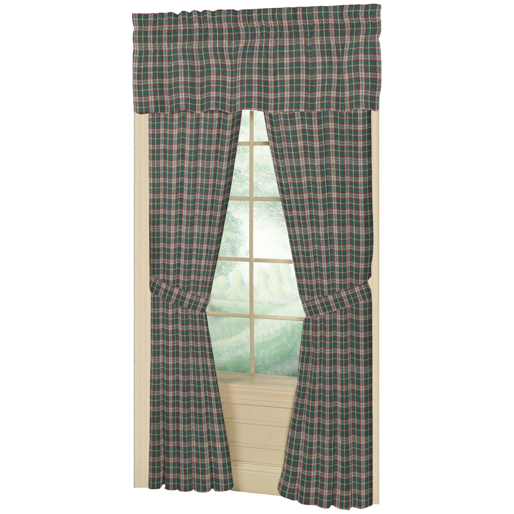 "Green and Muddy Red Plaid Window Curtain 40""W x 84""L"