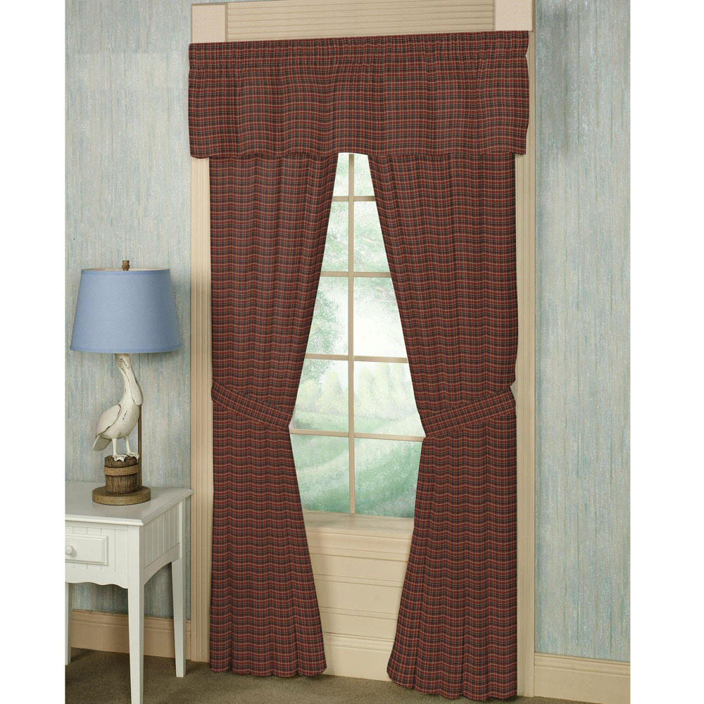"Maroon and Black Plaid Window Curtain 40""W x 84""L"