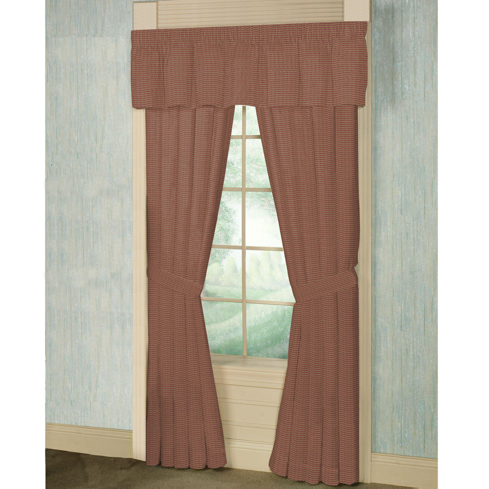"Tea Dye and Red Candy Stripes Window Curtain 40""W x 84""L"
