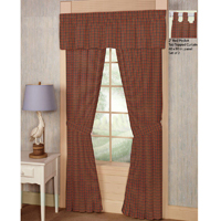 "Tan and Blue Red Plaid Window Curtain 40""W x 84""L"