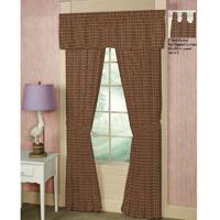 """Green and Warm Brown Plaid Window Curtain 40""""W x 84""""L"""